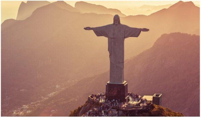 Aerial view of Corcovado in Rio de Janeiro