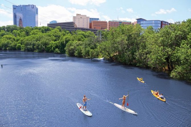 Stand up paddling on the Trinity River in Fort Worth